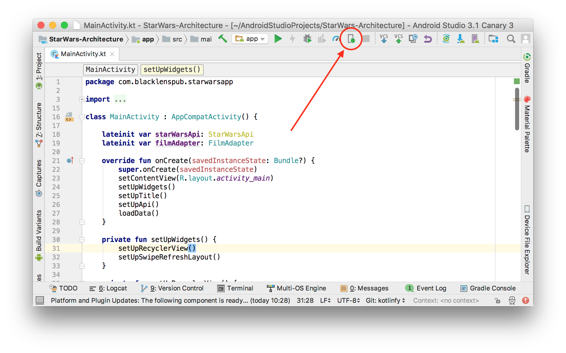 Debugging in android studio